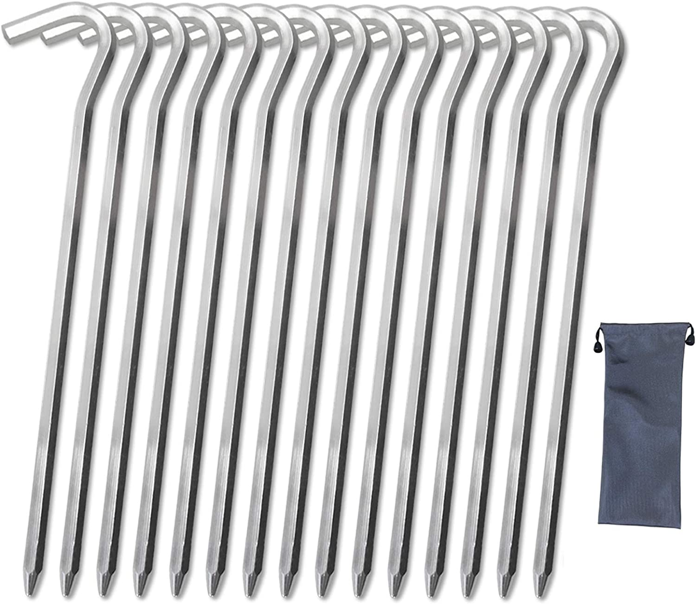 EISENSP Non-Rust 7075 Aluminum Garden Stakes - 7.9 inch Ultralight Hook Tent Pegs, 15 Pack Hexagon Rod Metal Spikes and Waterproof Cloth Bags