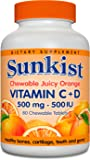 Sunkist Vitamin C and D Chewable Tablets 500 mg, Juicy Orange, 80 Count