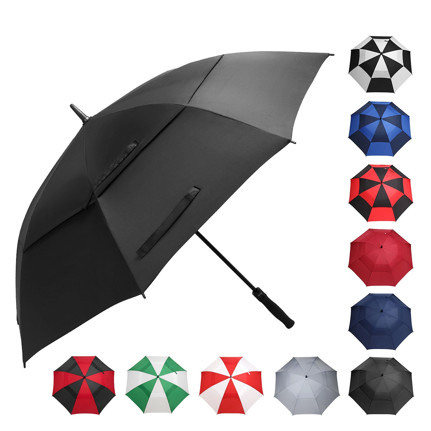 BAGAIL Golf Umbrella 68/62/58 Inch Large Oversize Double Canopy Vented Windproof Waterproof Automatic Open Stick Umbrellas for Men and Women (Black, 58 inch)