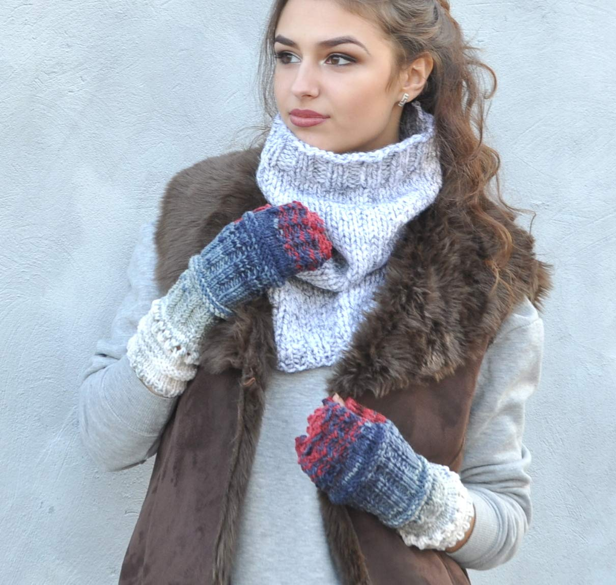 Long Cable Mittens, Fingerless Gloves, Knitted Mittens Thumb Hole Gloves, Winter Mittens, Sweet Girls Women Mittens, Hand Wrist Winter Warmer Knitted in blue jeans tones