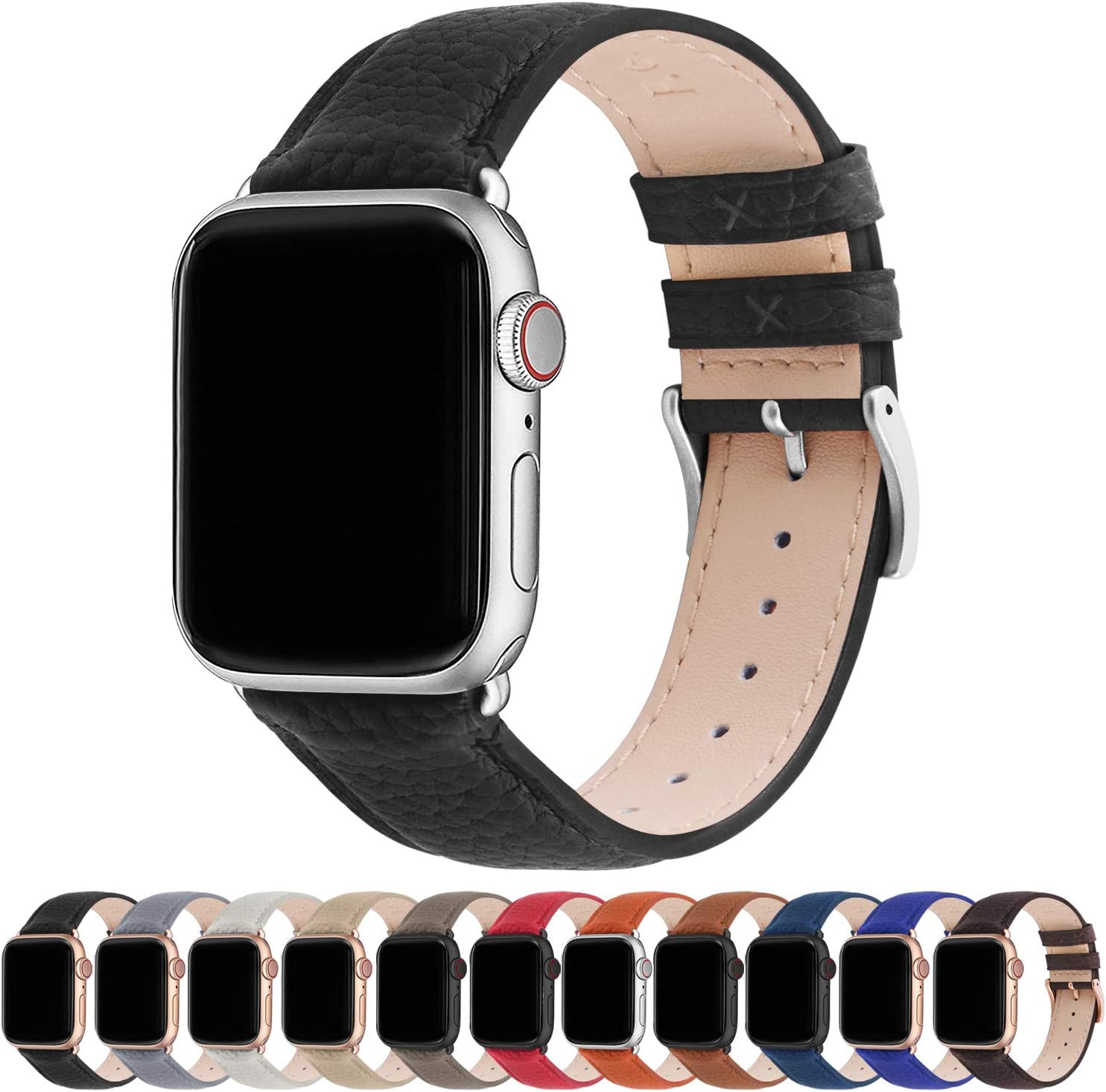 Fullmosa Compatible Apple Watch Band 44mm 42mm 40mm 38mm Leather Compatible iWatch Band/Strap Compatible Apple Watch SE & Series 6 5 4 3 2 1, 38mm 40mm, Black + Silver Buckle