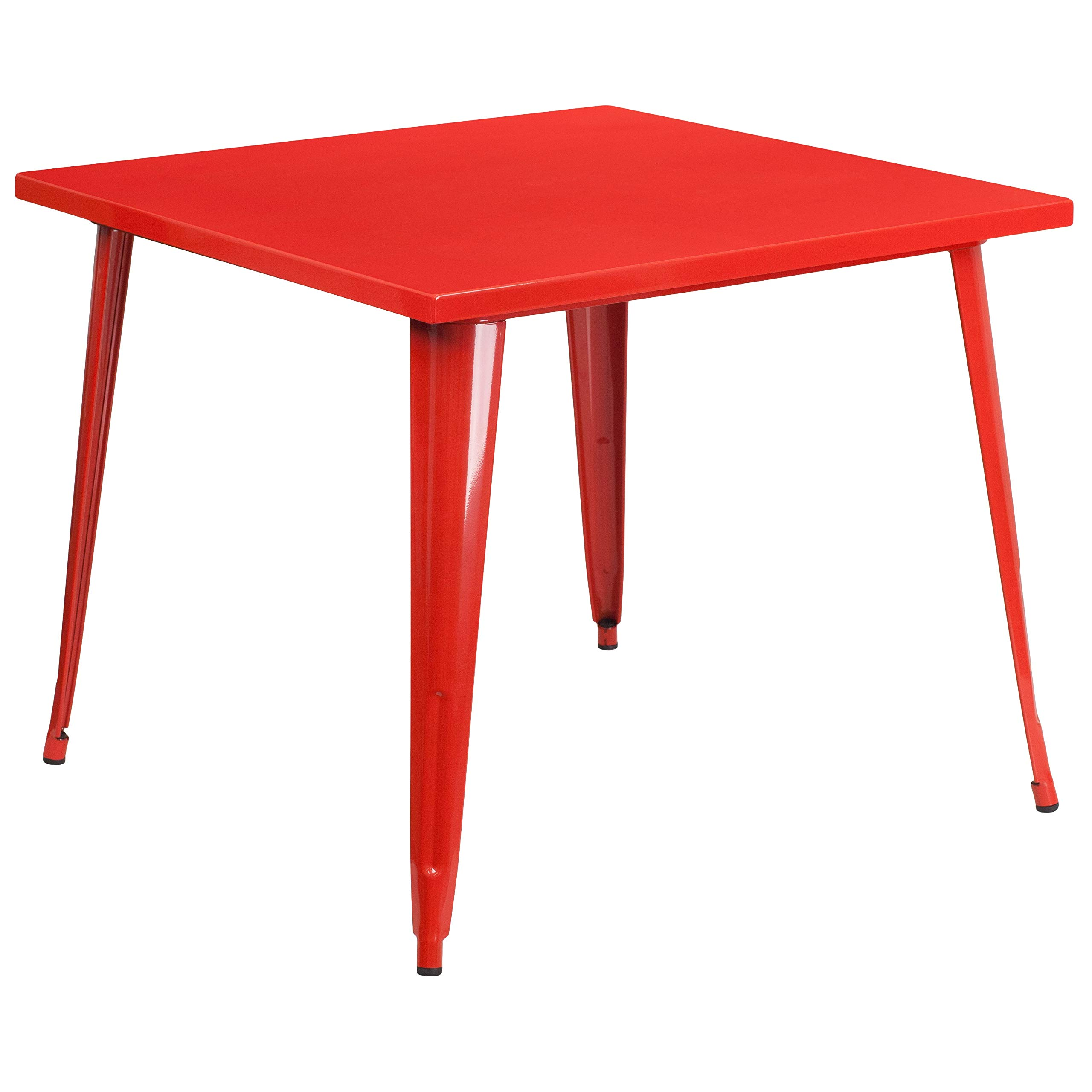 MFO 35.5'' Square Red Metal Indoor-Outdoor Table by My Friendly Office