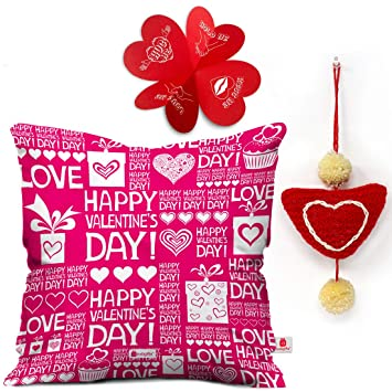 Indigifts Valentine Gifts For Girlfriend Love Happy Valentines Day Quote Cushion Cover 16quotx16quot