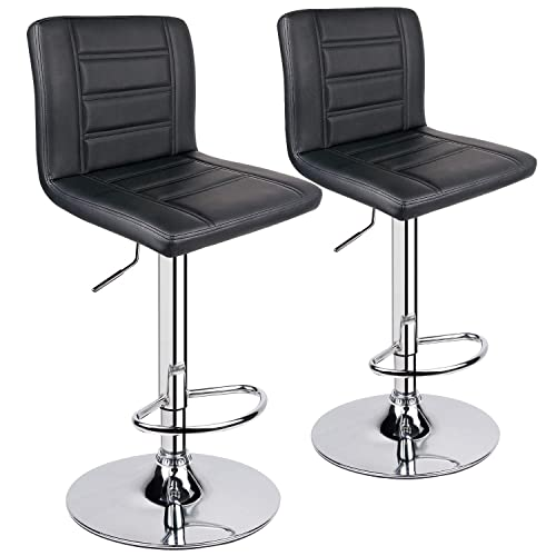 Leopard Bar Stools Set of 2, Modern Adjustable Bar Stool with Back, Swivel Barstool – Black