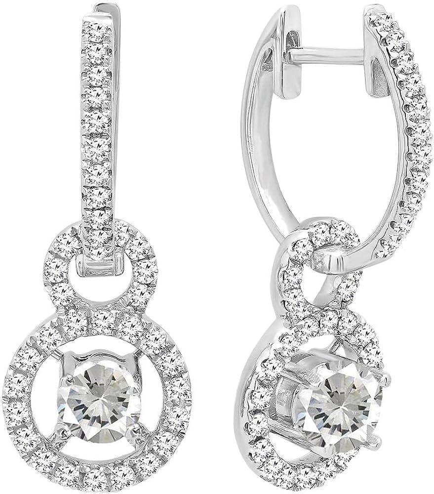 DazzlingRock Collection 18k Oro Corte Redondo Piedras Preciosas y Diamantes Mujer halo Colgando Pendientes Blanco-Zafiro