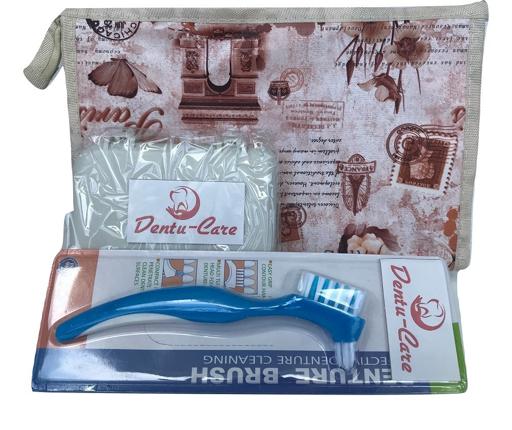 Dentu-Care Denture Case Travel with Mirror and Denture Toothbrush bundle with Multi Purpose Water Proof Zipper Pouch Bag