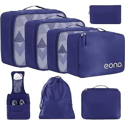 Eono by Amazon - 8 Set Cubos de Embalaje, Organizadores para Maletas, Travel Packing Cubes, Equipaje de Viaje Organizadores, con Bolsa de Zapatos, Bolsa de Cosméticos y Bolsa de Lavandería, Armada