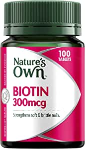 Nature's Own Biotin 300mcg - Strengthens Nails - Catalyses Fat, Cholesterol and Amino Acid Metabolism 300mcg, 100 Tablets
