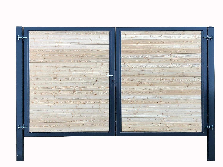 Einfahrtstor Premium Garten-Tor 2-Fl/ügeltor 500x160cm RAL 7016 Anthrazit Holz Symmetrisch