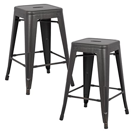 AC Pacific Modern Backless Light Weight Industrial Metal Barstool 4 Leg Design, 24 Seat Bar Stools Set of 2 , Distressed Black Finish