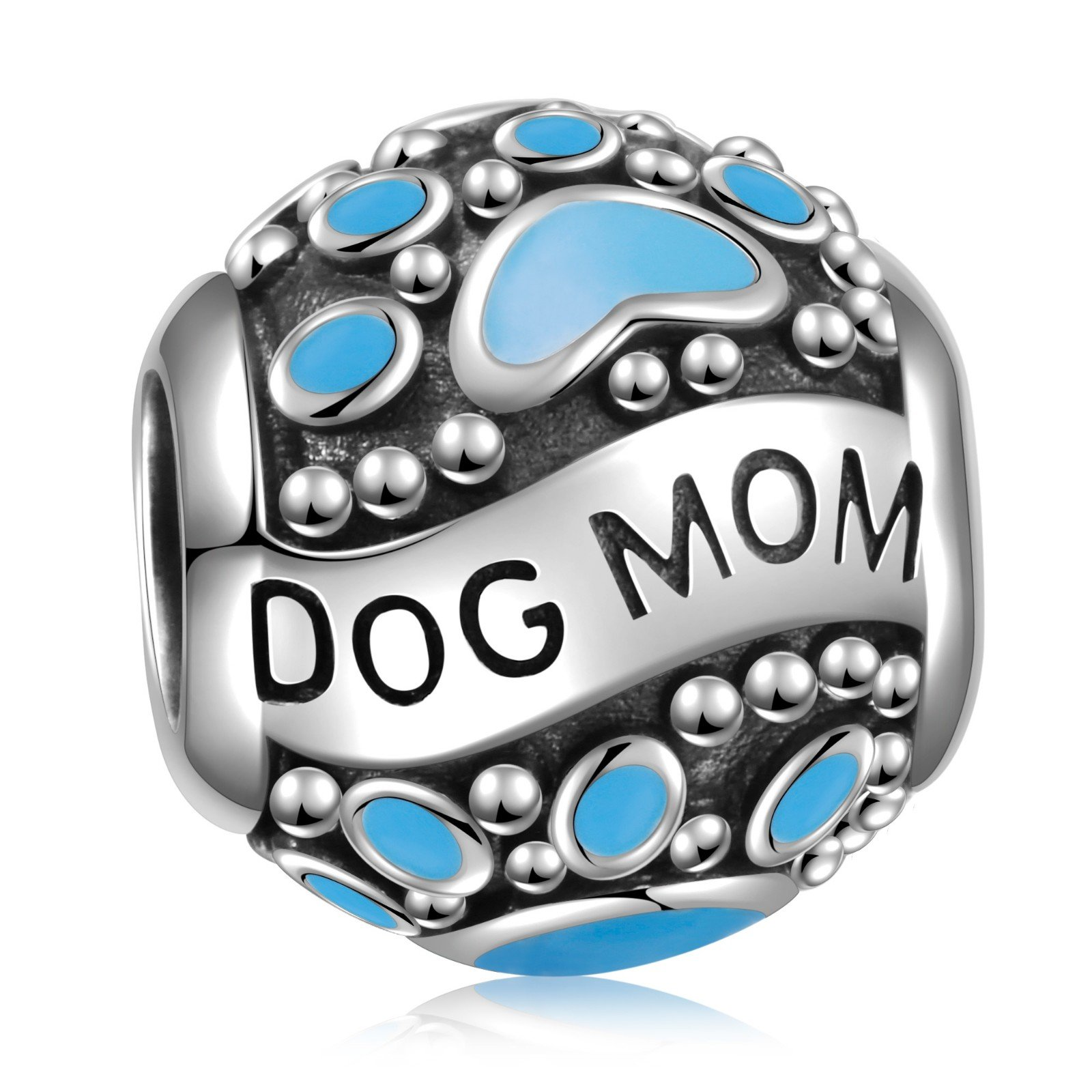 925 Sterling Silver Dog Mom Paw Animal Footprints Vintage Charms Bead for European Charm Bracelet