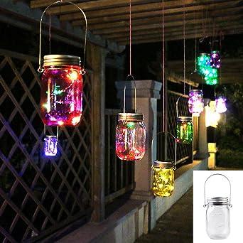 Mason Jar luces 5 colores 10 bombillas LED Solar, Mason tarro para colgar linterna de