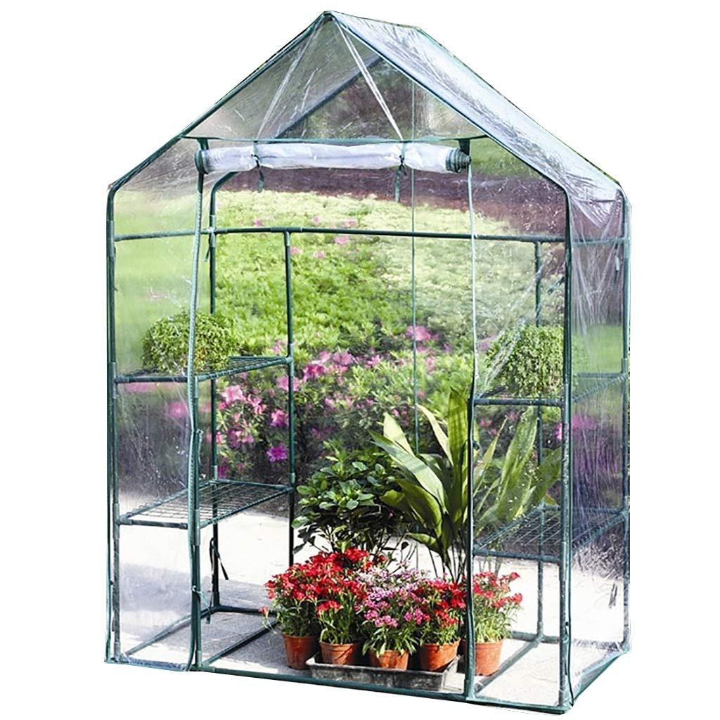 143143195cm LIZIWS Greenhouse flower house family sprouts planting frame 143  73  195cm 143  143  195cm single door transparent PVC (Size   143  143  195cm)