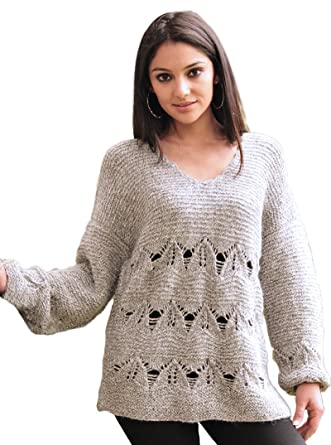 fb1b6a901dc0ff Gamboa - 100% Alpaca - Rustic Sweater - for Women - Gray with Long Sleeves  at Amazon Women's Clothing store: