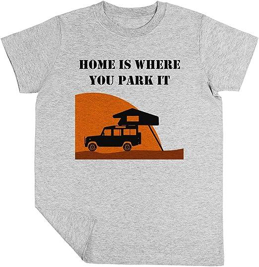 Home Is Roof Tent Ni/ño Ni/ña Unisexo Blanco Camiseta Manga Corta Kids White T-Shirt Defender 110