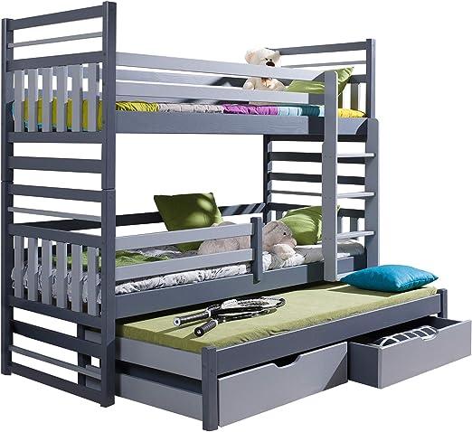 Litera Triple Hippo Moderna Cama Nido Alta con cajones y Escalera de Madera de Pino para 3 niños, Derecho, UK Single Standard Size: Amazon.es: Hogar