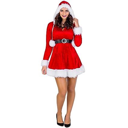 TecTake dressforfun Disfraz para Mujer Sra. Mamá Noel | Vestido Corto con Capucha & cinturón Maravilloso (XXL | no. 300487)