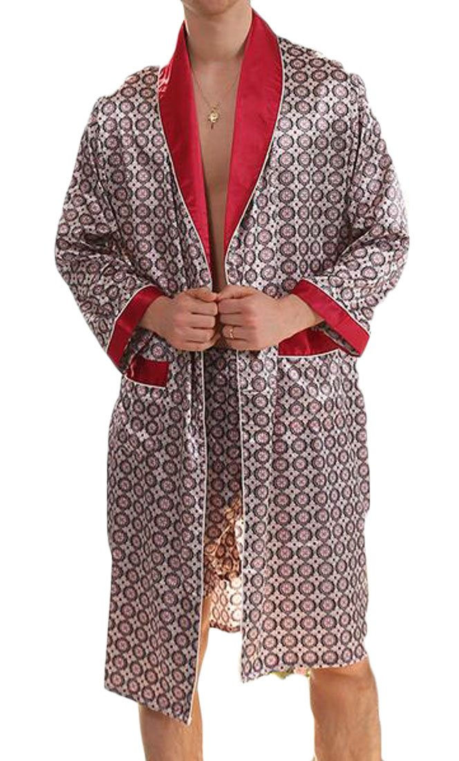 Cromoncent Men's Faux Charmeuse 2 Piece Sets Long Sleeve Printed Loungewear Bathrobe Robe Red Medium by Cromoncent