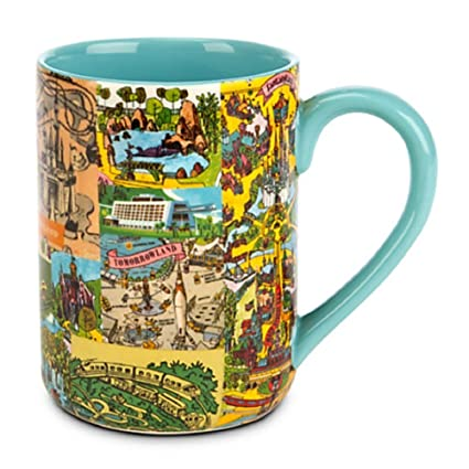 Amazon.com | Disney World/Disneyland Magic Kingdom Map Mug: Coffee ...