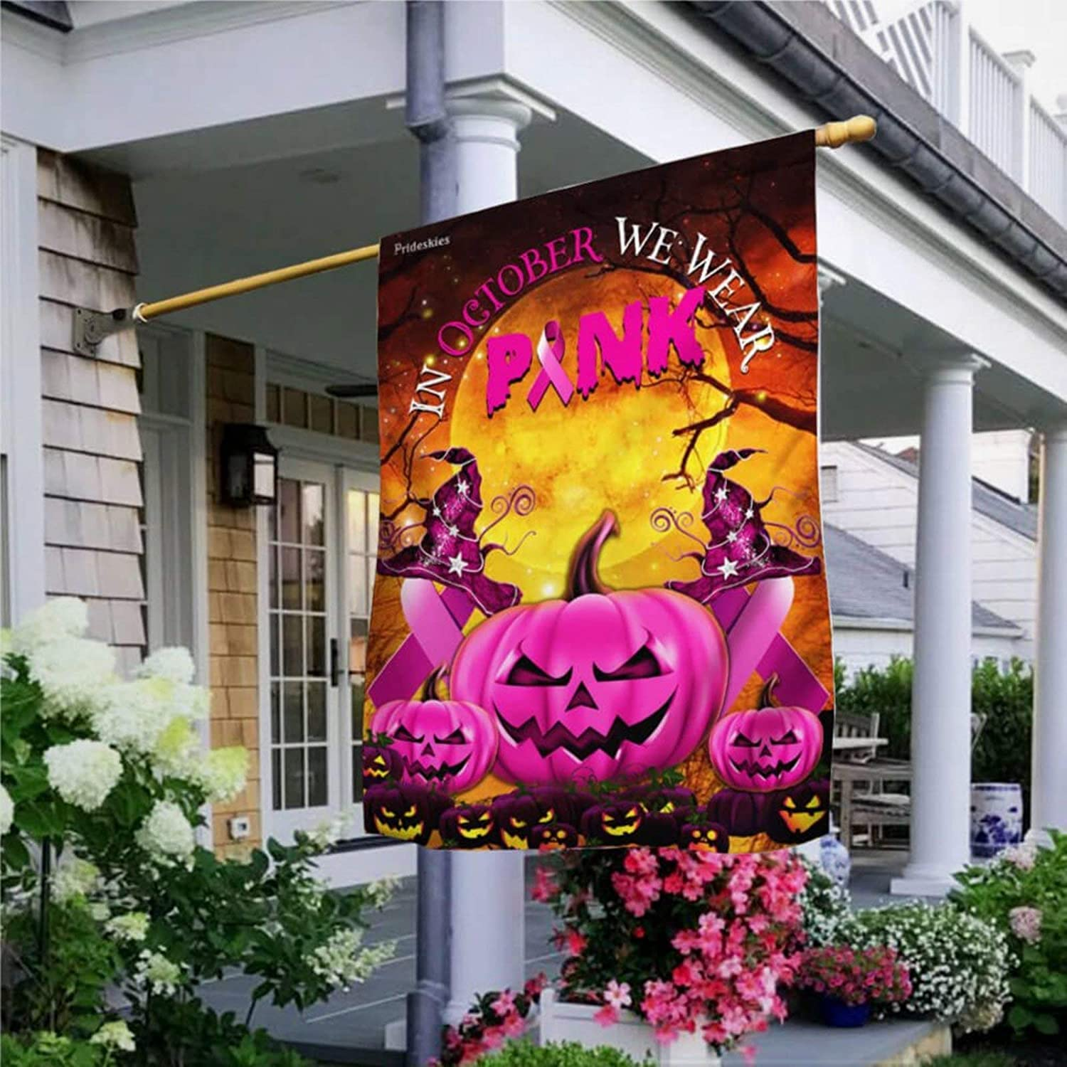 Garden Flag Breast Cancer Awareness. Halloween Pumpkin Flag Yard Decor House Decor Flag Seasonal Banners for Patio Lawn Outdoor 28x40""