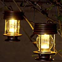 Obell Hanging Solar Lights 2 Pack Outdoor Garden Lights LED Retro Solar Hanging Lanterns with Handle for Pathway Yard…