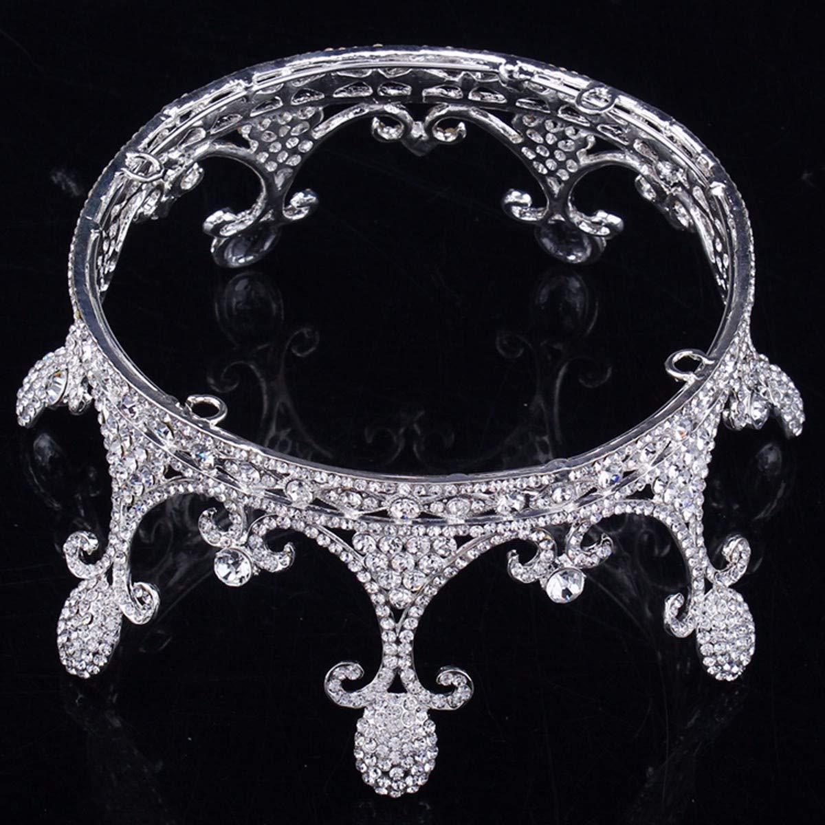 Girls Crown, Beautiful headdress/Bridal Headwear Round Crown Ornaments Wedding Dress Accessories Sweet Master Wedding Accessories Diamond Crown (Color : B) by Zehaer (Image #2)