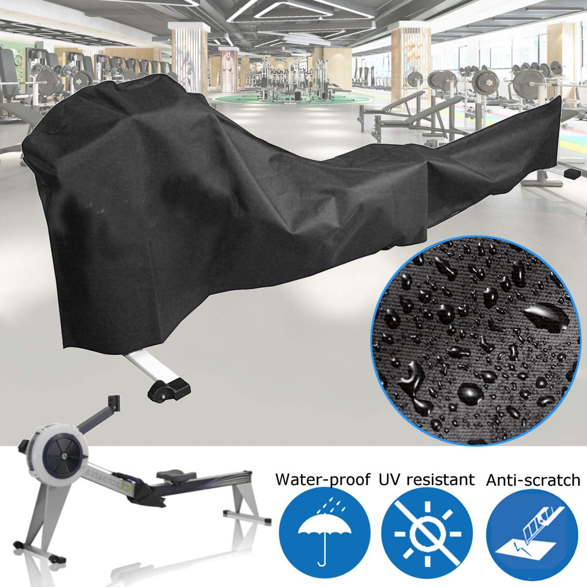 dDanke Black Rowing Machine Cover Sports Equipment Dust Covers for Outside Weather Rain & Sunshine Resistance 285x51x89cm