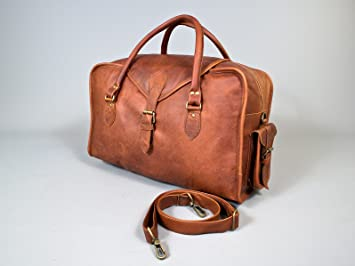Vagabond vintage style brown leather holdall duffel weekend bag ...