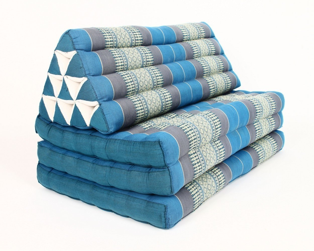 XL Foldout Triangle Thai Cushion, 79x30x3 inches, Kapok Fabric, Blue, by Thailand by Kaikeng