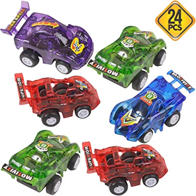 Bedwina Pull Back Race Car (24 Pack) Assorted Colors, Powerful Pullback Race Car, Toy Vehicles for Kids, Toddlers & Fun Party Favors, Stocking Stuffers for Child's Birthday Party: Toys & Games