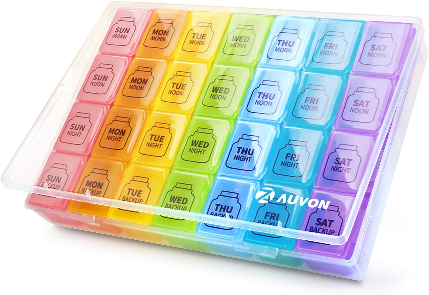 AUVON iMedassist Monster Weekly Pill Organizer, 2nd Gen Extra Large Pill Box Case (7-Day / 4-Times-A-Day) with Huge Compartments to Hold Plenty of Fish Oils, Vitamins,Supplement and Medication (XL): Health & Personal Care