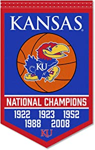Kansas Jayhawks 5 Time Basketball National Champions Banner