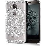 kwmobile Elegante y ligera funda Crystal Case Diseño flor para Huawei G8 / GX8 en blanco transparente