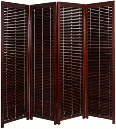 Finley Home Tranquility Wooden Shutter Screen Room Divider – 4 Panel –