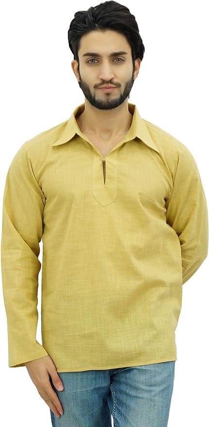 Atasi Ethnic Men/'s Short Kurta White Mandarin Collar Cotton Shirt