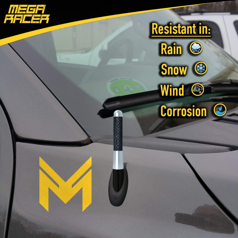 Mega Racer JDM Nismo Racing Style 1 Piece 3 76 mm Carbon Fiber Antenna Car Antenna Radio Antenna Truck Antenna FM AM Antenna Short Antenna Dark Navy Blue Polished Finish Stubby Antenna