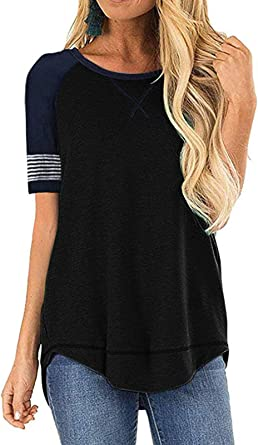 MEROKEETY Womens Summer Tops Short Sleeve T Shirts Casual Crew Neck Color Block Tee Blouses