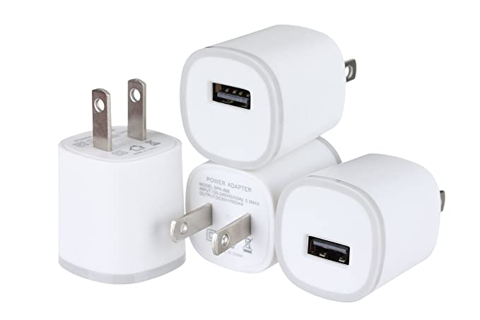 buy online 141d8 b25df Spark Electronics 4PC 1 Port Rapid Speed [Matte White] Tapered Universal  USB Power Adapter Wall Charger Compatible with Apple iPhone 7 7 Plus 6 6S  ...