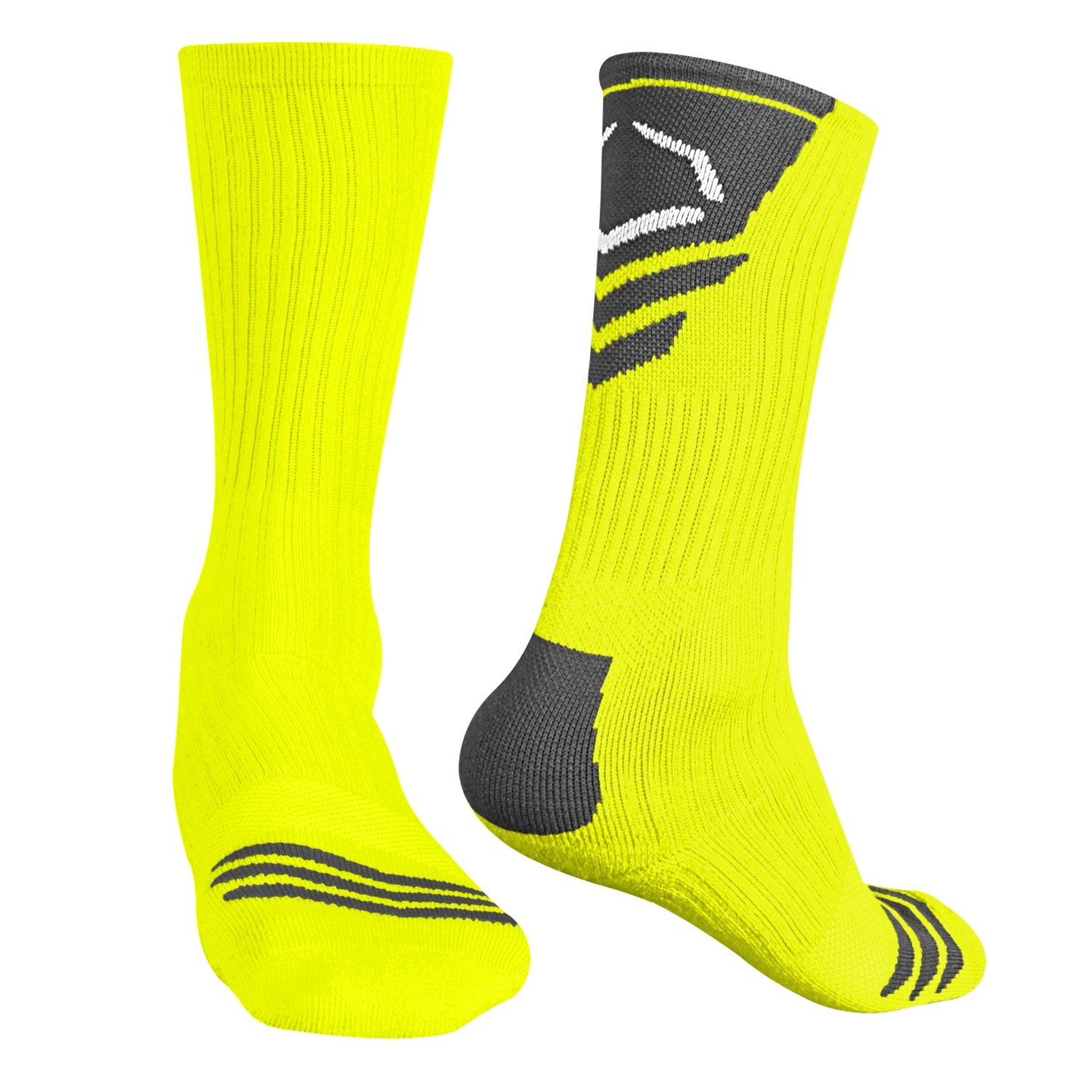 Evoshieldメンズパフォーマンスクルーソックス B00DBF7X9M M|Neon Yellow With Grey Neon Yellow With Grey M