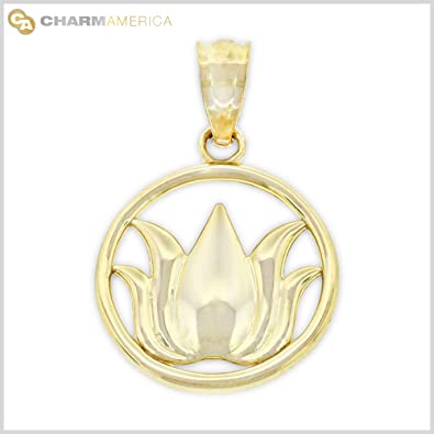Amazon gold lotus flower charm 10k solid gold jewelry gold lotus flower charm 10k solid gold mozeypictures Choice Image