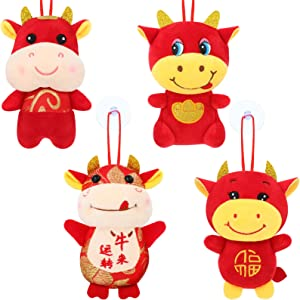 Sumind 2021 Chinese New Year Ox Ornament Red Mascot Ox Toy Chinese Year of Ox Plush Toy Cow Pendant Plush Toy Cattle Calf Hanging Ornaments for Chinese Zodiac Ox New Year Decoration