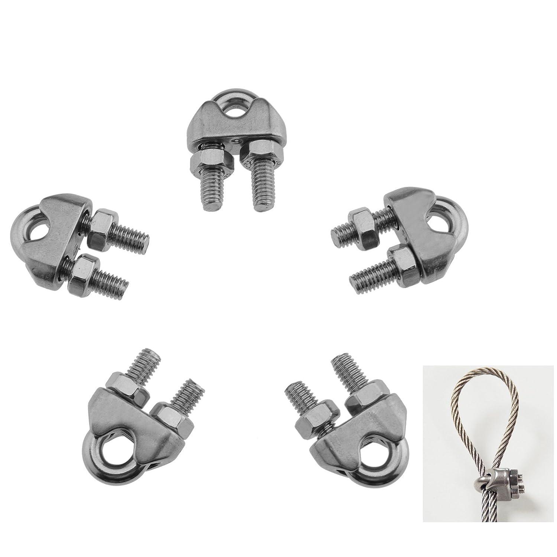 Creative-Idea Serre-Câble Goupilles de Câbles Métalliques en Acier Inoxydable Marine Clamp 6mm 5pcs