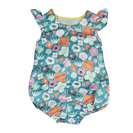 puseky Infant Toddler Bebé Niñas Volantes Flores Pelele Mono Verano Traje Ropa Verde Verde Talla: