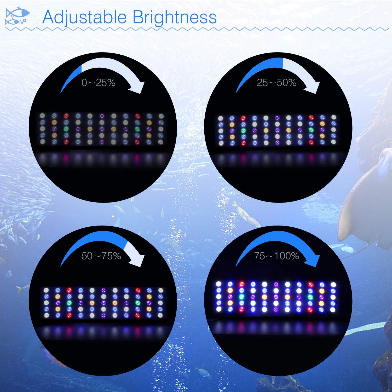 Roleadro LED Acuario Marino 165W wifi Remoto y Manual Pantalla LED Acuario Tamaño Grande Iluminacion LED para Acuarios con Luz Blanca,Azul,Luna Azul,Modo ...