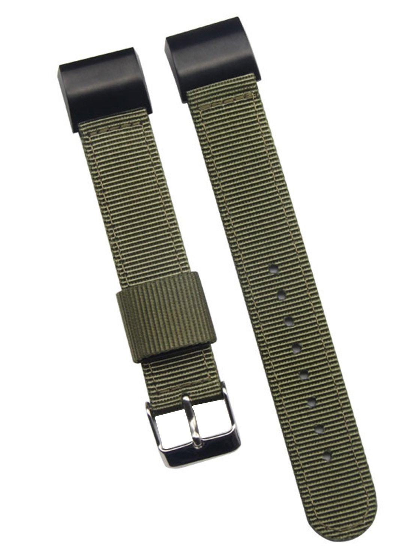 最高級バリスティックナイロンの時計バンド Fitbit Charge 2の交換用 18mm グリーン グリーン グリーン B0747NYHHP