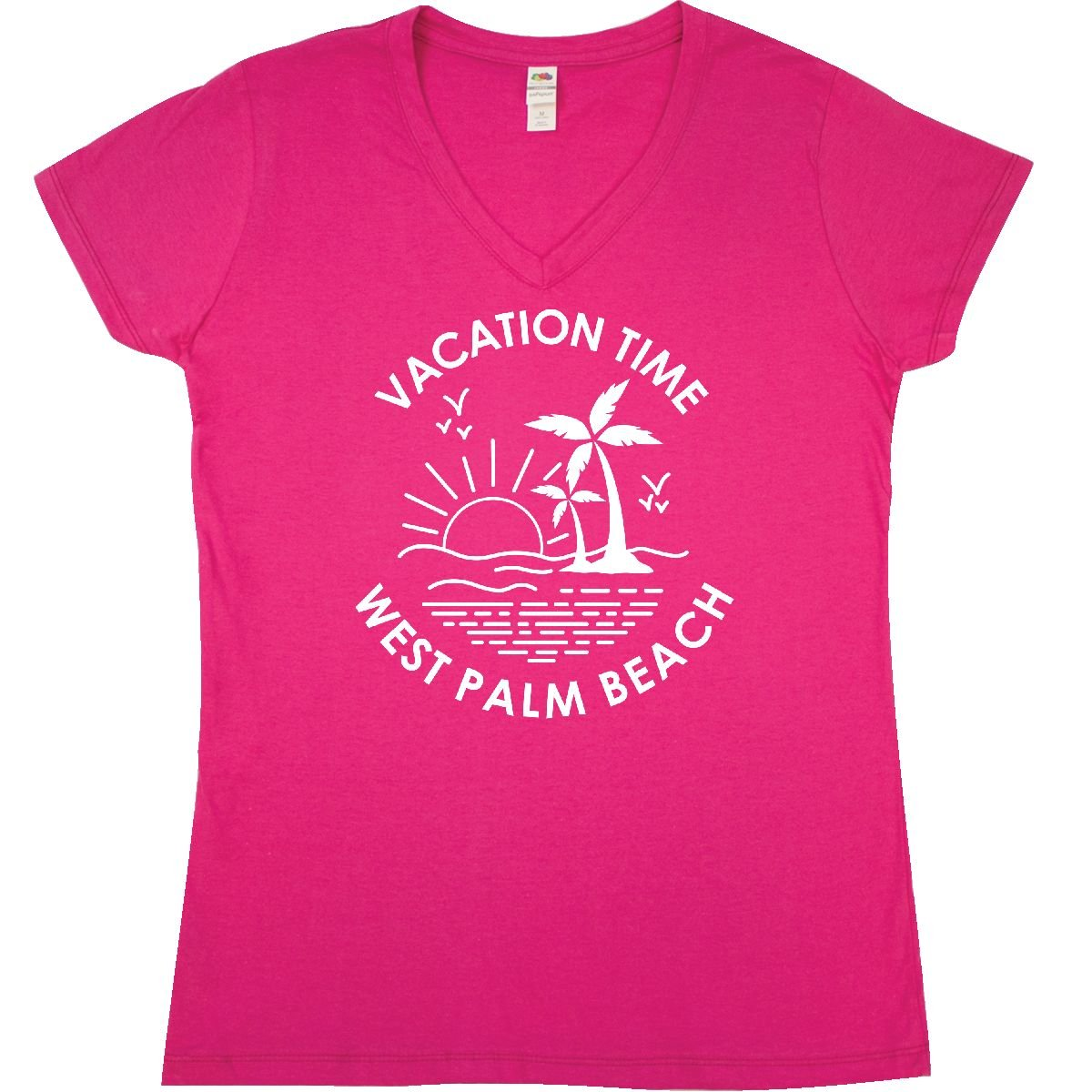 Amazon.com: inktastic - Vacation Time in West Palm Beach Junior V-Neck T-Shirt 301b6: Clothing