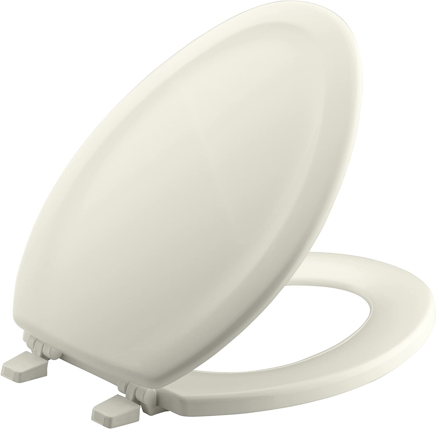 KOHLER K-4814-96 Stonewood with Quick-Release Hinges Elongated Toilet Seat, Biscuit