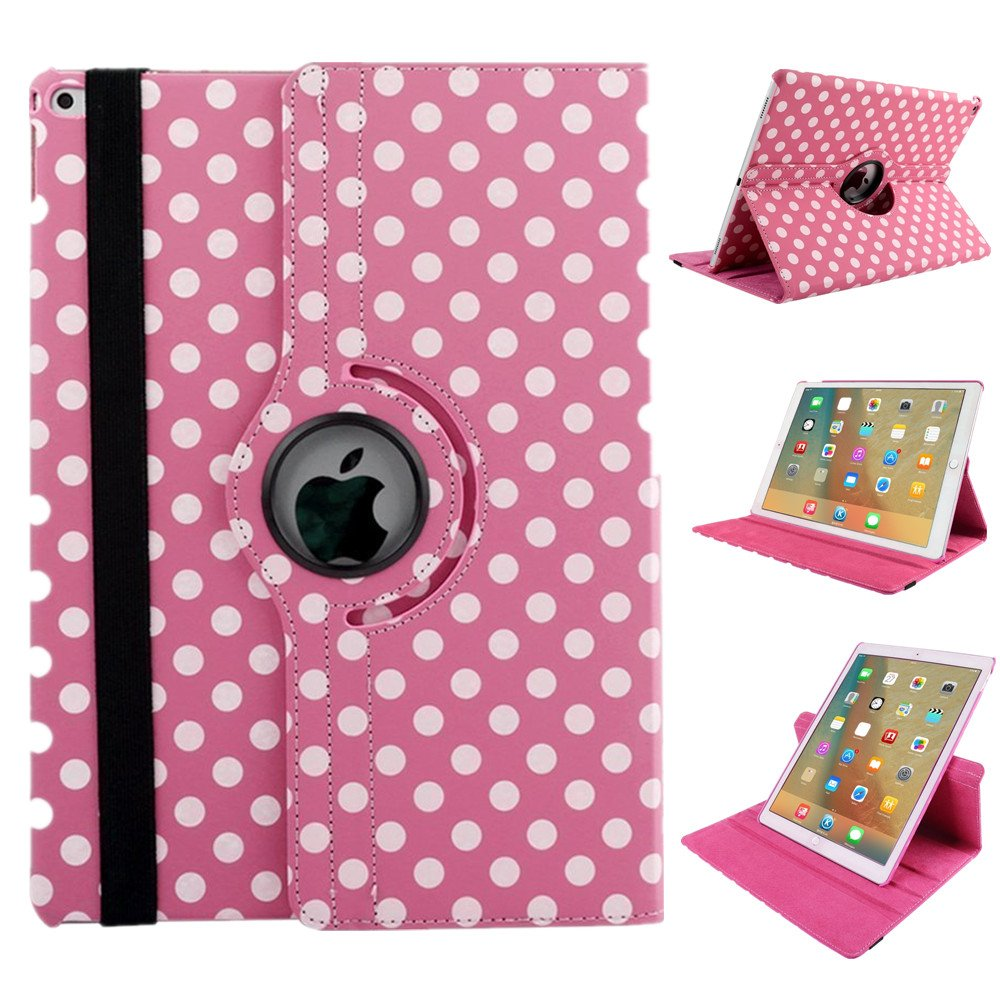 MeiLiio iPad Case Cover for 2017 iPad 9.7-inch, Wave Point 360 Degree Rotating Case Protective Folio Flip Cover Sleeve for Apple The New 9.7 inch 2018 2017 New iPad -Pink