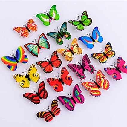 Amazon.com: ltrottedj 10 pcs pegatinas de pared mariposa ...