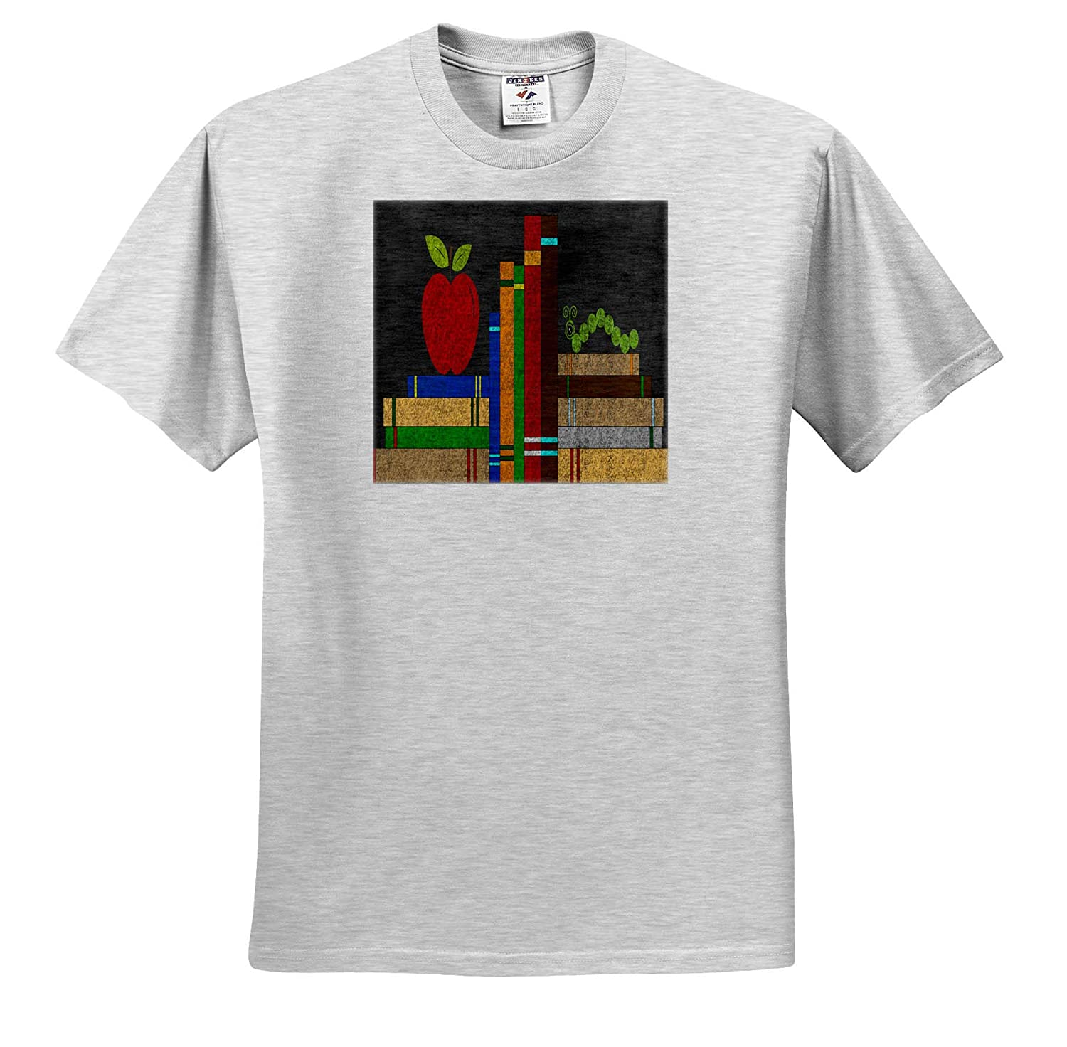 Design ts/_316267 and Book Room Illustration Books 3dRose Anne Marie Baugh Adult T-Shirt XL Apple